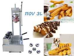 New 3l Commercial Vertical Manual Churrera Churros Machine With 12l Fryer 110v