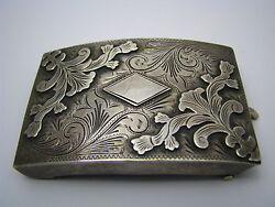 Solid Sterling Silver Belt Buckle Large By Alc Guadalajara Mexico Ca1900s Rare