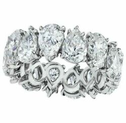 9.94ct Pear Cut Moissanite Woman's Eternity Engagement Gift Band 14k White Gold