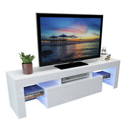 63 Wood High Gloss Led Tv Stand Entertainment Furniture Center Console Cabinet