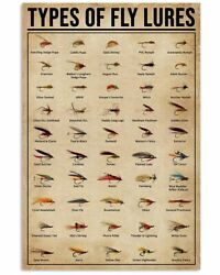 Types Of Fly Lures Poster Fishing Poster For Bedroom Gift For Fisher