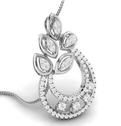 Drop Pendant For Women 14kt Ct Rose Gold White Natural Diamond Girl Necklace