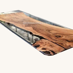 Epoxy River Table Acacia Wood Dinning Table Coffee Table River Dark Kitchen Deco