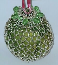 Sterling Silver Plated Chainmail Dice Pouch With Uranium Glass Beads Handmade