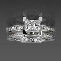 Matching Band Set Diamond Ring Earth Mined 1.96 Carats 18k White Gold Colorless