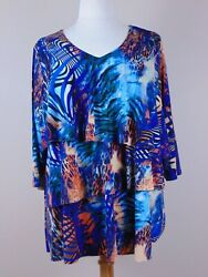 Susan Graver Printed Liquid Knit Tiered Top W/ 3/4 Sleeves Women's Size 2x