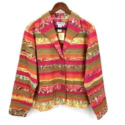Coldwater Creek Womens Large Multi-colored Striped Applique Blazer Jacket Nwt