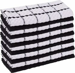 Green Lifestyle Checkered Kitchen Towels, 12 Pack 15x25 100 Ring Spun Cotton