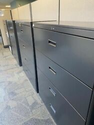 """Lot Of 10 Great Openings - Four Drawer Lateral Filing Cabinets - Black 42"""" W"""