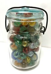 Antique Canning Glass Jar Full Of Old Marbles 115 Beautiful Collection