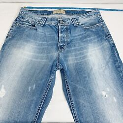 Bke Tyler 34 X 34 Button Fly Blue Jeans 34l Distressed Light Wash Bootcut