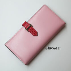 Authentic Hermes Bifold Bearn Wallet -bicolor Pink With Silver