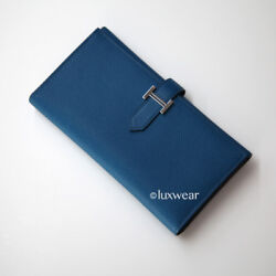 Authentic Hermes Trifold Bearn Wallet - Blue Izmir With Silver