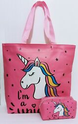 Unicorn Tote Bag 15quot; Large Purse With Cosmetic Beach Bag Travel Carry All Tote $12.95