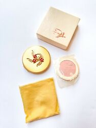Vintage Zell Compact Gold-toned Floral Design With Original Box