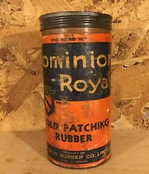 Rare 1940's Vintage Dominion Royal Cold Patching Rubber Tire Repair Kit Tin