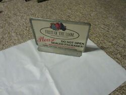 Vintage Fruit Of The Loom Advertising Store Sign And Bracket
