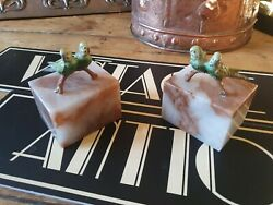 Antique Vintage Cold Painted Bronze Budgie Bird Onyx Base Book Ends