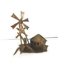 Decorative House With Windmill And Palm Tree Copper Figurine Made From Copper