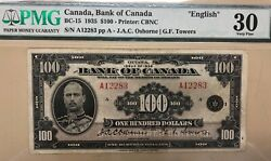 1935 Bank Of Canada 100 - Bc-15 English Pmg Graded Very Fine 30 - S/na12283