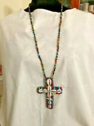 20 inch beaded necklace cowrie shell cross pendant