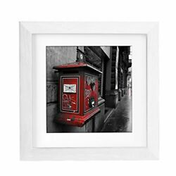 Bojin 8x8 Picture Frames White Made To Display Pictures 6x6 With Mat Wooden S...