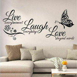 Live Laugh Love Butterfly Home Quote Wall Stickers Art Room Removable Decals DIY