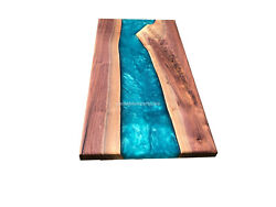 Solid Wood Live Edge Resin Dining Table, Epoxy Center Table, Live Edge Furniture