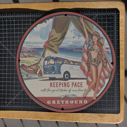 Vintage 1942 Greyhound War-time Travel Pace Bus Porcelain Gas And Oil Metal Sign