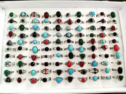 Bulk Lots 50pcs Antique Silver Women's Colorful Stone Ring Party Jewelry Mix Lot