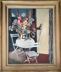 Large Oil Impressionism Bouquet Of Flowers On A Garden Table Cuno Amiet