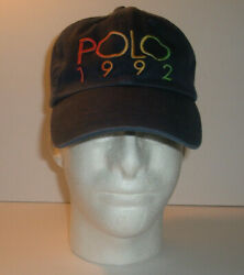 Vintage Polo 1992 Leather Strap Ball Baseball Cap Hat Faded
