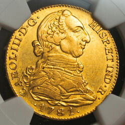 1781/79, Spain, Charles Iii. Large Gold 4 Escudos Coin. Overdate Ngc Au-55