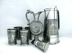Pewter Holland Royal Medieval Party Wine Claret Tumblers Greek Ewer And Stein