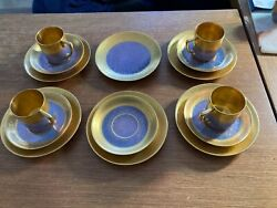 Pickard China Complete Set Of 4 Breakfast Cup, Saucer, And Dessert Plate And More