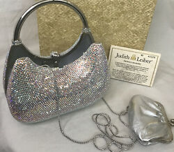 Judith Lieber Purse Aurora Full Crystal Silver Leather And Top Handle Andlong Chain