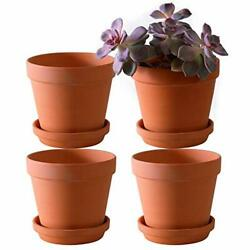 Large Terra Cotta Pots With Saucer- 4-pack Large 6.3'' Orchid Pots With Holes...