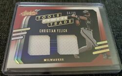 2021 Absolute Tools Of The Trade Yelich /49 And Cain Dual Game Used Jersey 2 Cards