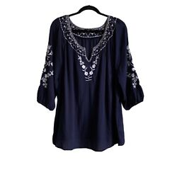 Talbots Size Xl Contrast Floral Embroidered Blouse 100 Cotton Casual Beach Euc