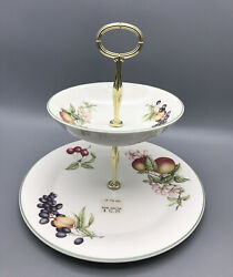Nos Vtg Discontinued Ashberry By Royal Doulton 2 Tier Tidbit Tray