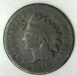 1868 Indian Head Cent Great Collector Grade Coin Includes Free Shipping In Us.