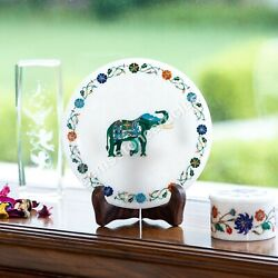 Marble White Collectible Food Serving Plate Elephant Inlay Marquetry Arts Décor