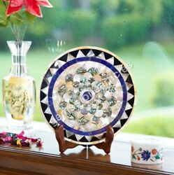 Modern Marble Handmade Collectible Dish Plate Mosaic Inlaid Mop Stone Arts Décor