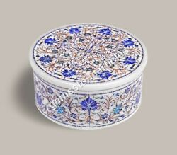 White Marble Round Trinket Jewelry Personalize Box Lapis Fine Floral Design Gift