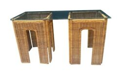 Vintage Boho Rattan Wicker Glass Top Console Sofa Hall Table Or Side Tables