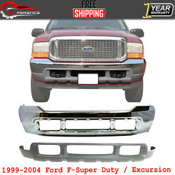 Front Bumper Chrome + Lower Valance For 1999-2004 Ford F-super Duty / Excursion