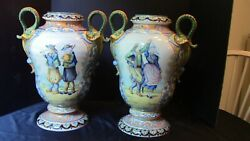 An Incredible Tall Pair Of Hr Quimper Vases