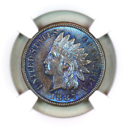 1887 Ms65 Bn Ngc Indian Head Penny Premium Quality Monster Toning