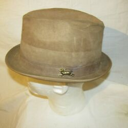 Deerskin Trading Post Fedora Hat Brown Suede Leather 7 1/2 Size Usa-cap