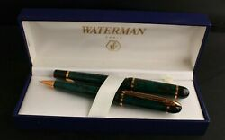 Waterman Phileas Green Marble Gold Trim Rollerball Pen And Mechanical Pencil And Box